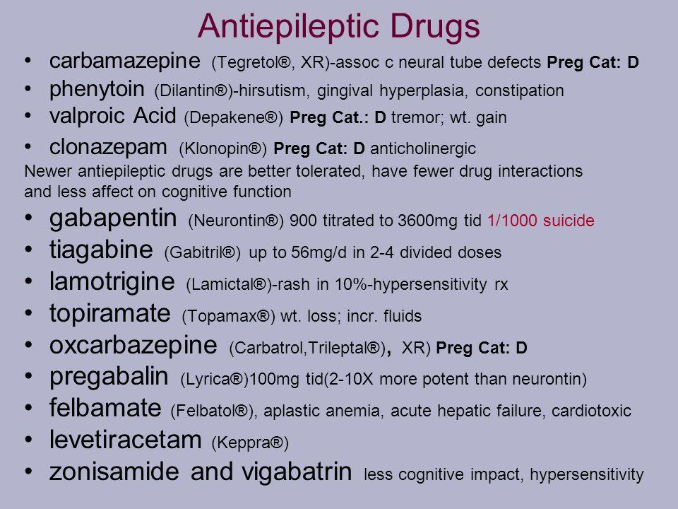 Antiepileptic Drugs carbamazepine (Tegretol®, XR)-assoc c neural tube defects Preg Cat: D.