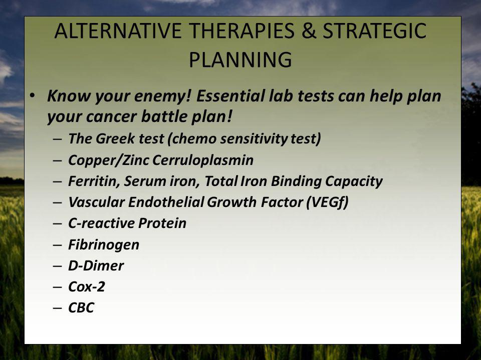ALTERNATIVE THERAPIES & STRATEGIC PLANNING