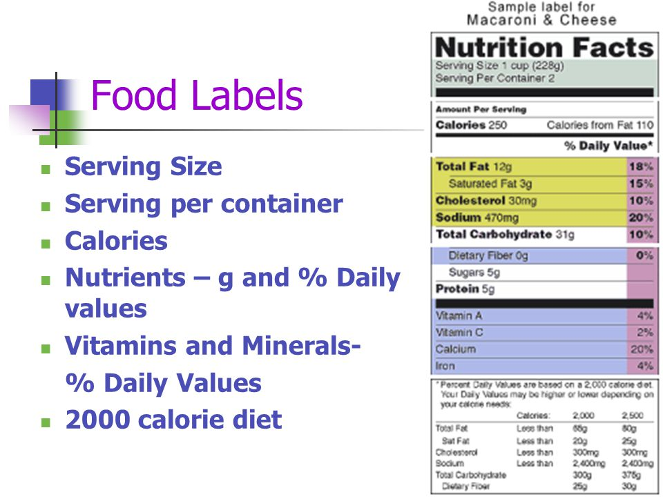 Food Labels Serving Size Serving per container Calories