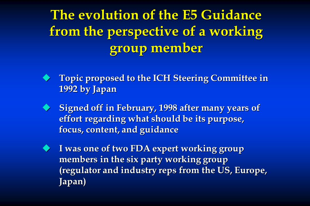 The evolution of the E5 Guidance from the perspective of a working group member