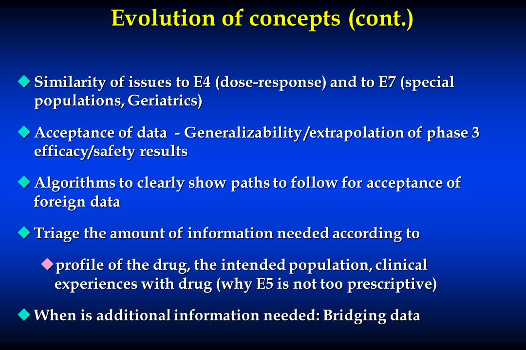 Evolution of concepts (cont.)