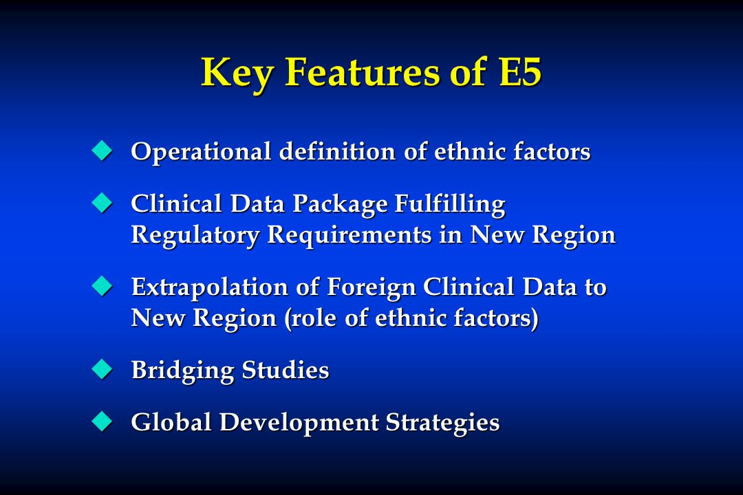Key Features of E5 Operational definition of ethnic factors