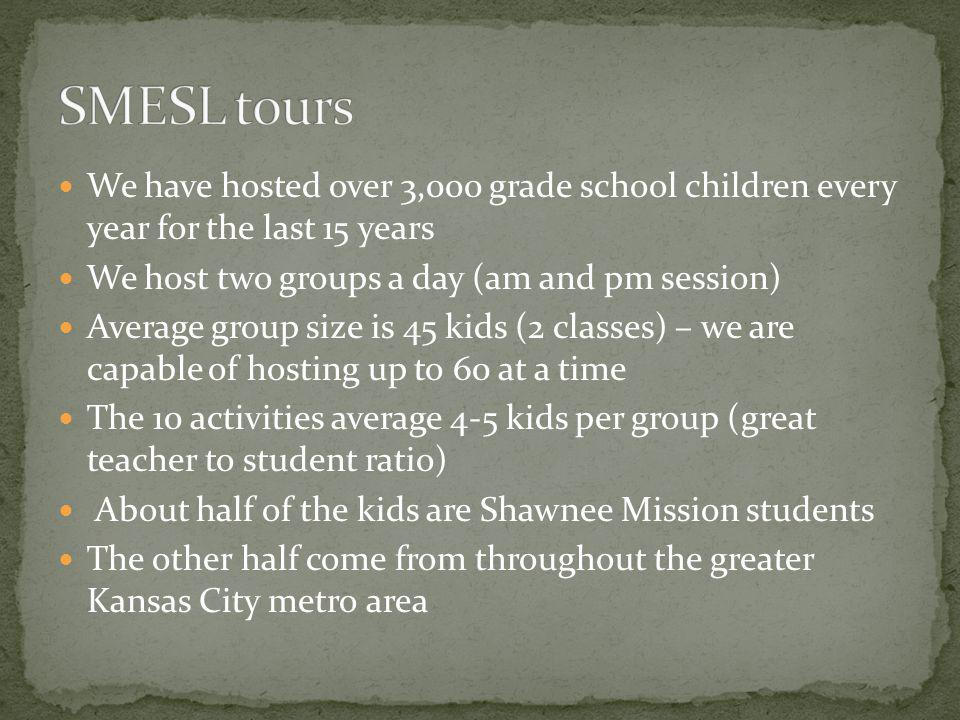 SMESL tours We have hosted over 3,000 grade school children every year for the last 15 years. We host two groups a day (am and pm session)