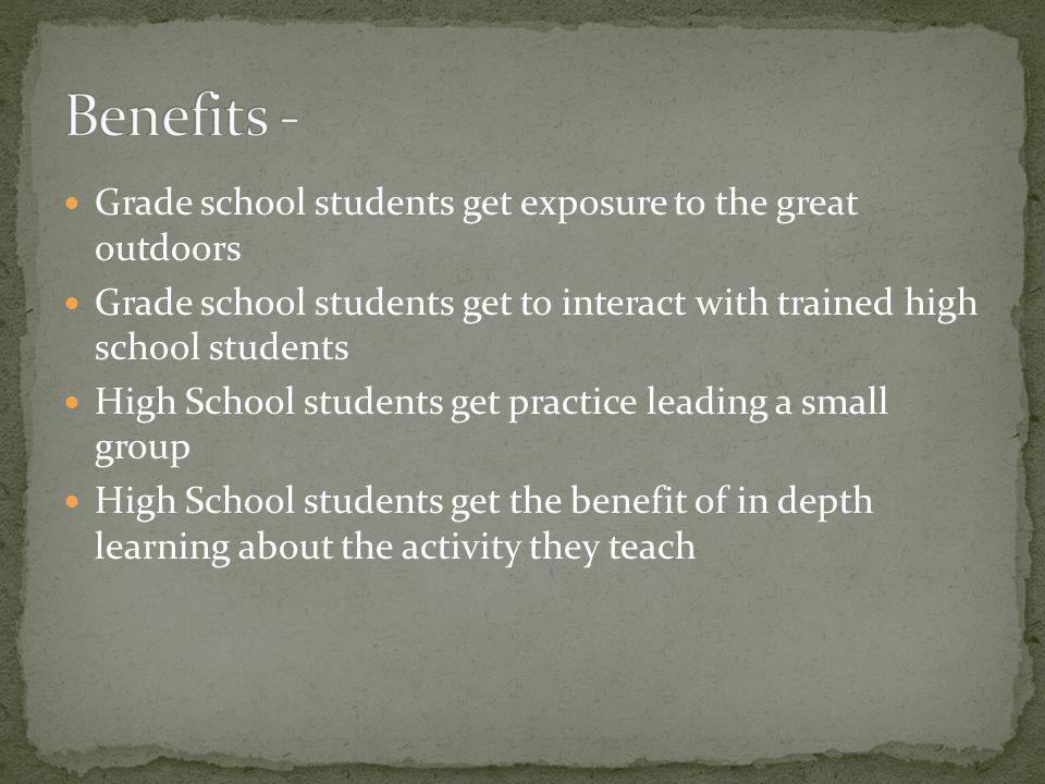 Benefits - Grade school students get exposure to the great outdoors