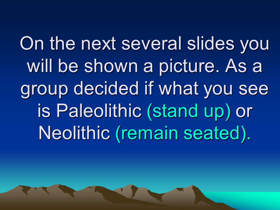 On the next several slides you will be shown a picture