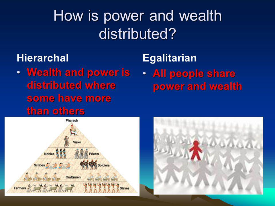 How is power and wealth distributed