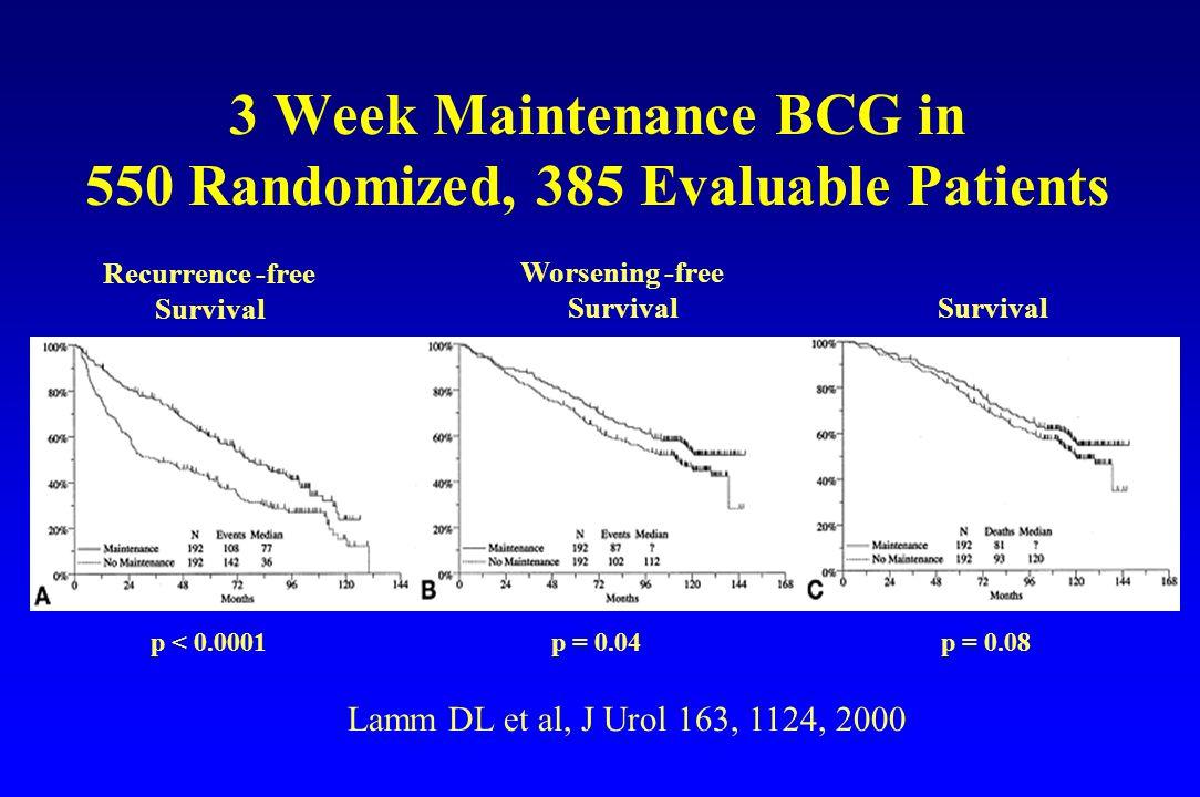 3 Week Maintenance BCG in 550 Randomized, 385 Evaluable Patients