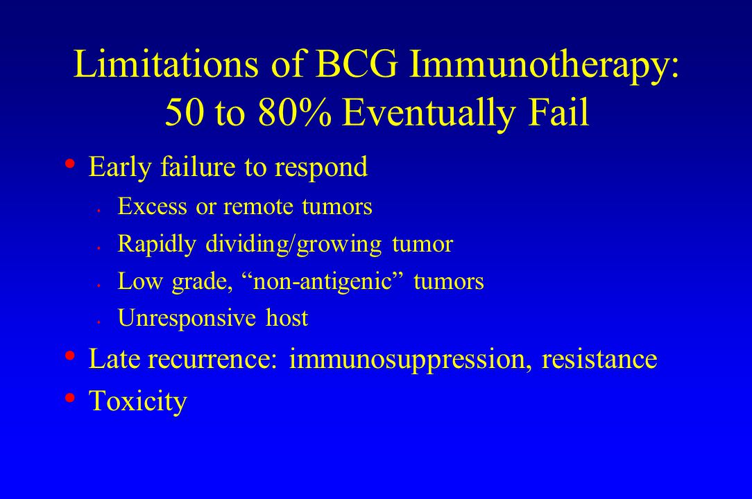 Limitations of BCG Immunotherapy: 50 to 80% Eventually Fail
