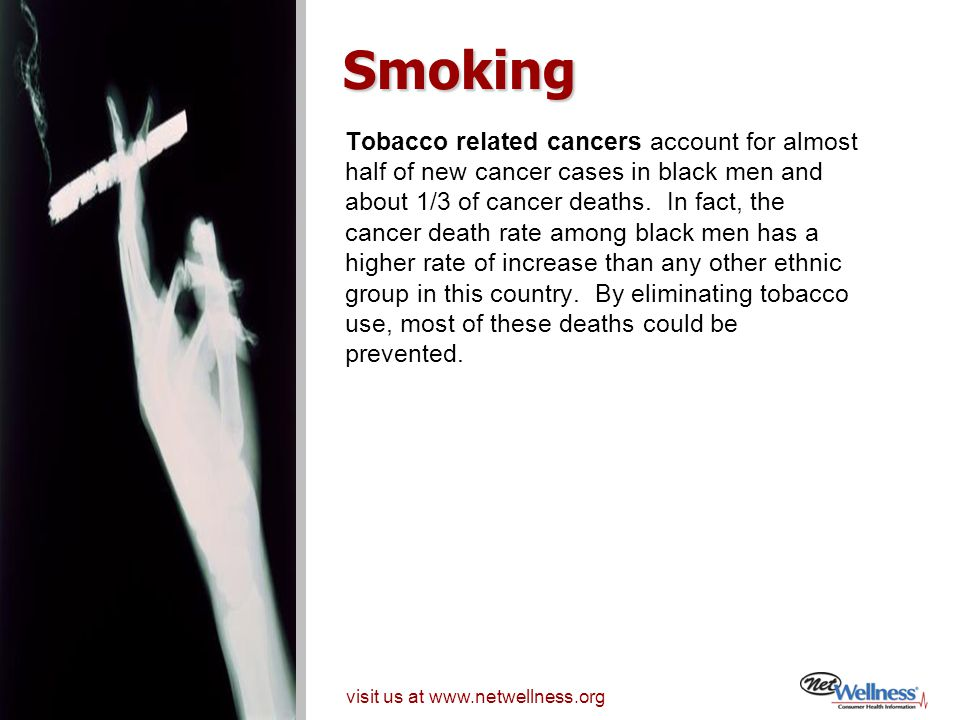 Smoking Tobacco related cancers account for almost
