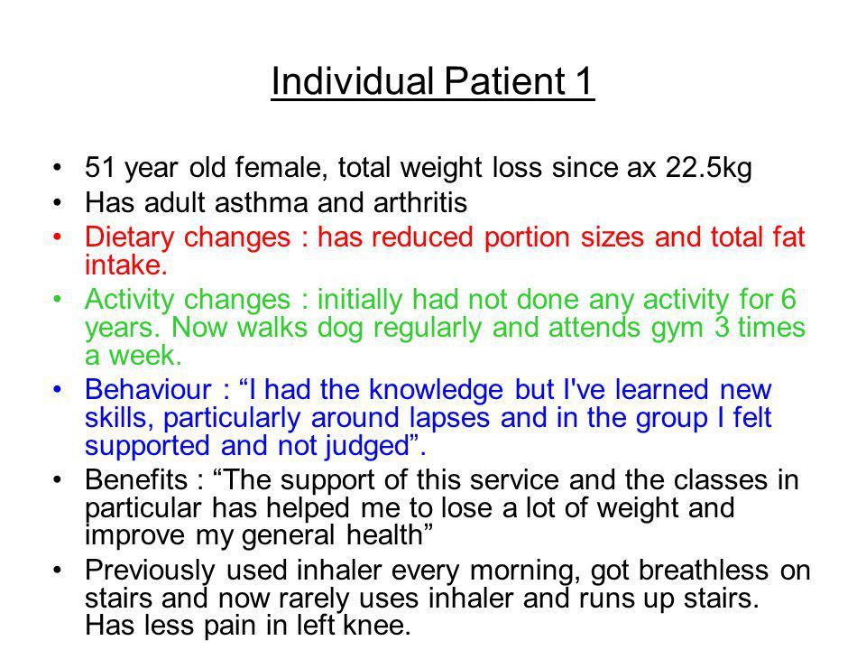 Individual Patient 1 51 year old female, total weight loss since ax 22.5kg. Has adult asthma and arthritis.