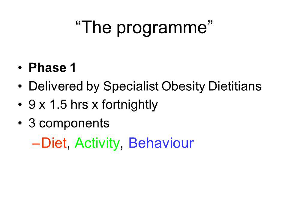 The programme Diet, Activity, Behaviour Phase 1