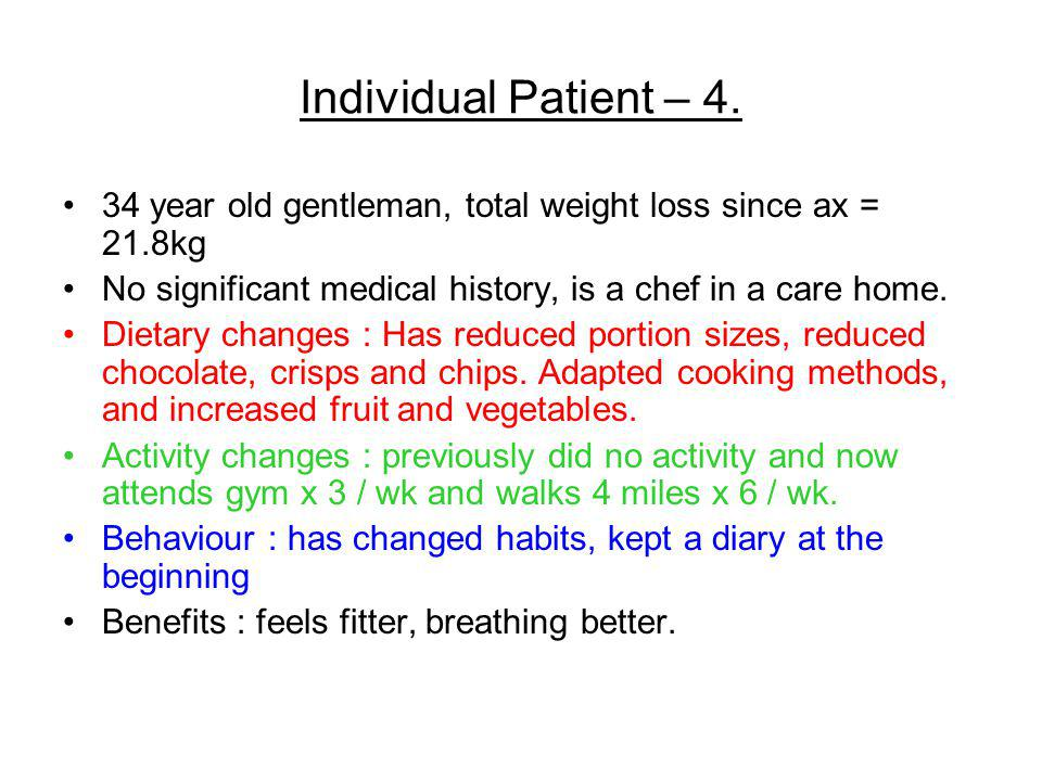 Individual Patient – 4. 34 year old gentleman, total weight loss since ax = 21.8kg. No significant medical history, is a chef in a care home.