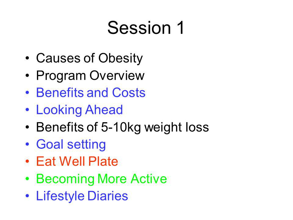 Session 1 Causes of Obesity Program Overview Benefits and Costs