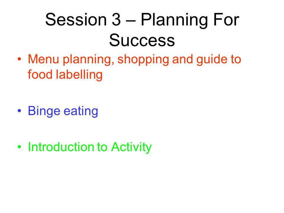 Session 3 – Planning For Success