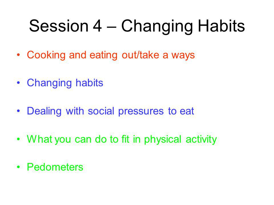 Session 4 – Changing Habits