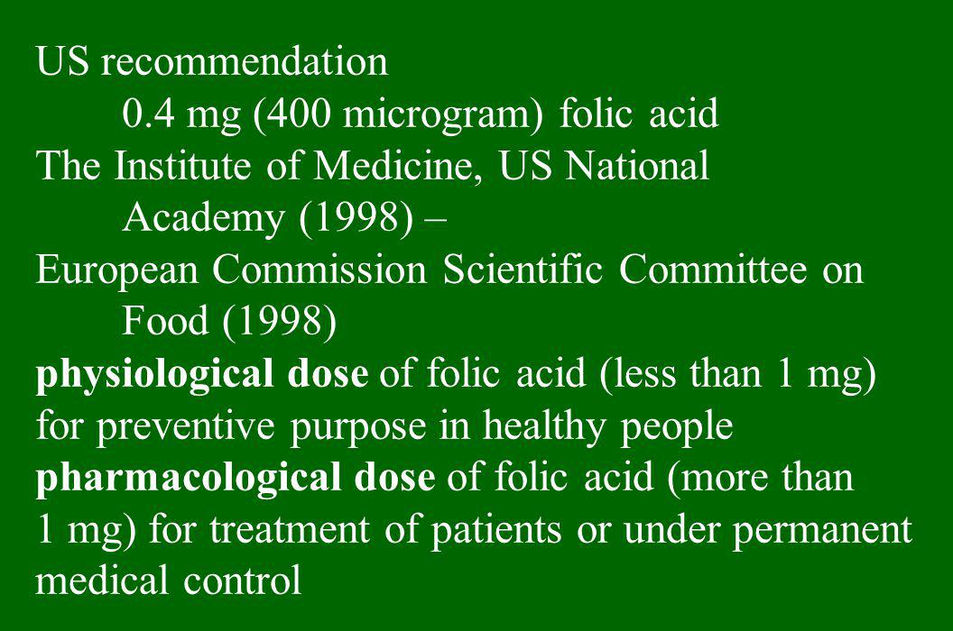US recommendation 0.4 mg (400 microgram) folic acid. The Institute of Medicine, US National. Academy (1998) –