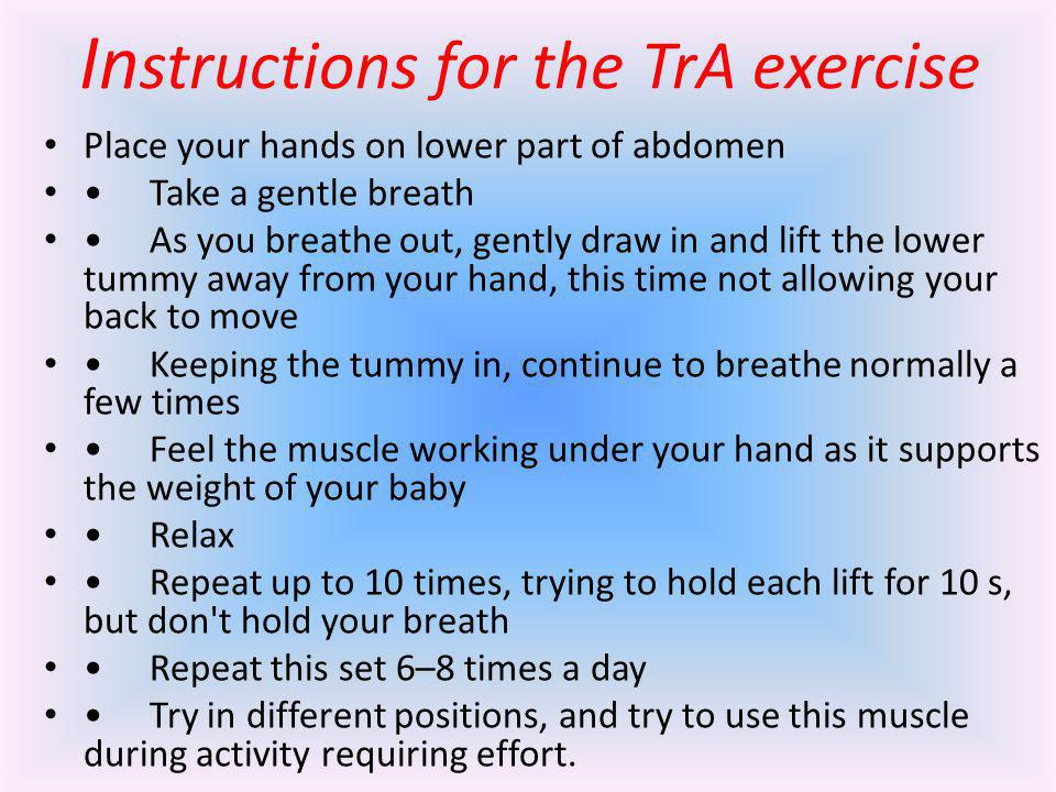 Instructions for the TrA exercise