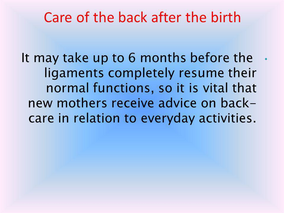 Care of the back after the birth