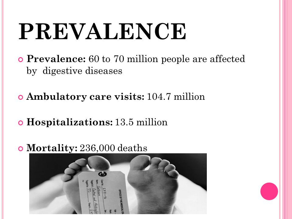 PREVALENCE Prevalence: 60 to 70 million people are affected by digestive diseases. Ambulatory care visits: million.