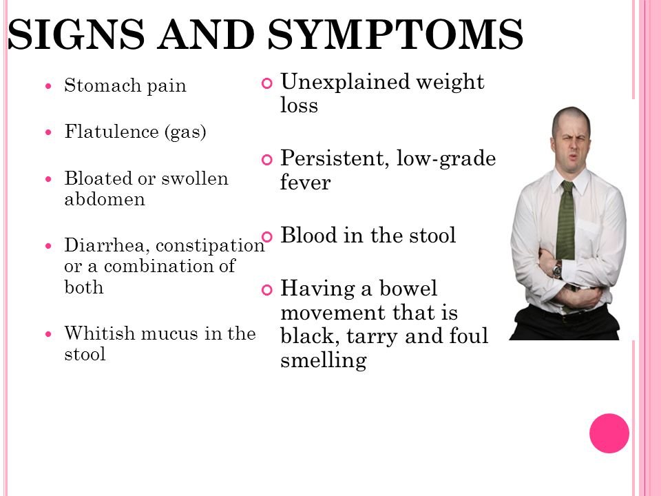 SIGNS AND SYMPTOMS Unexplained weight loss Persistent, low-grade fever