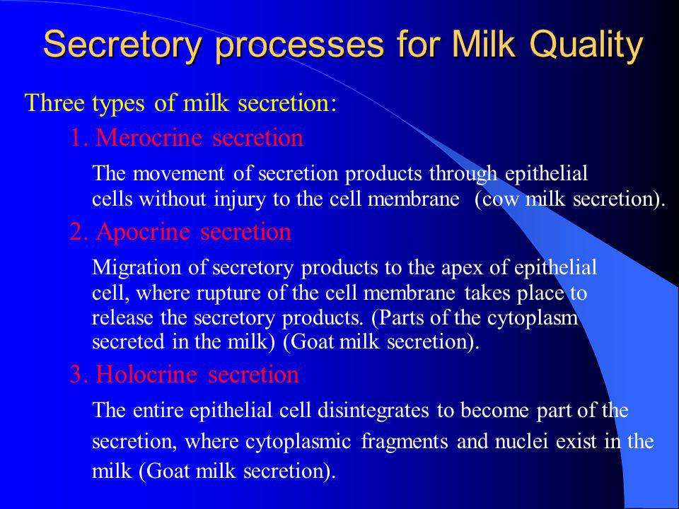 Secretory processes for Milk Quality