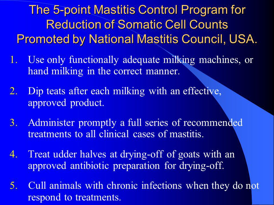 The 5-point Mastitis Control Program for Reduction of Somatic Cell Counts Promoted by National Mastitis Council, USA.