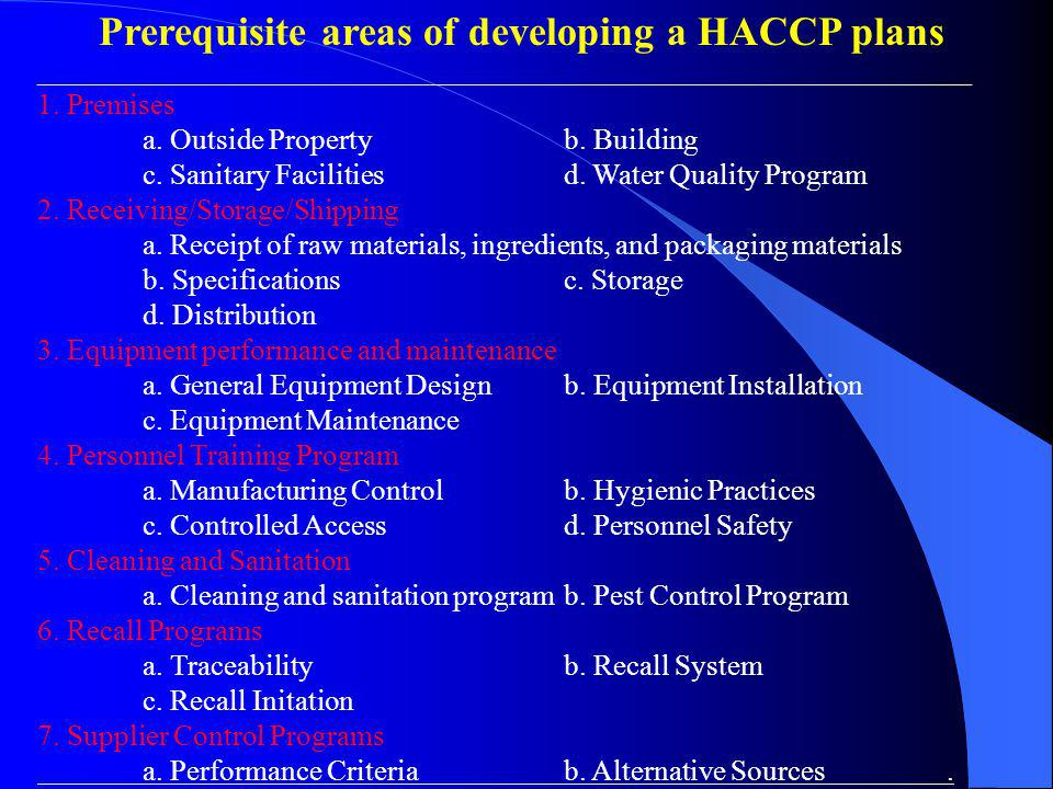 Prerequisite areas of developing a HACCP plans