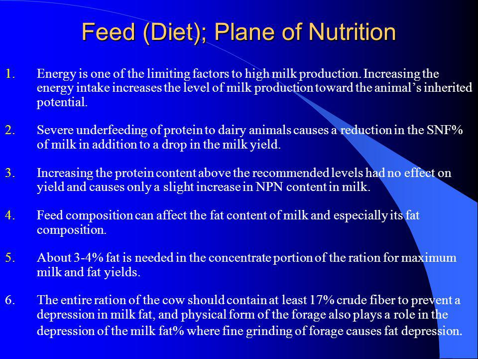 Feed (Diet); Plane of Nutrition