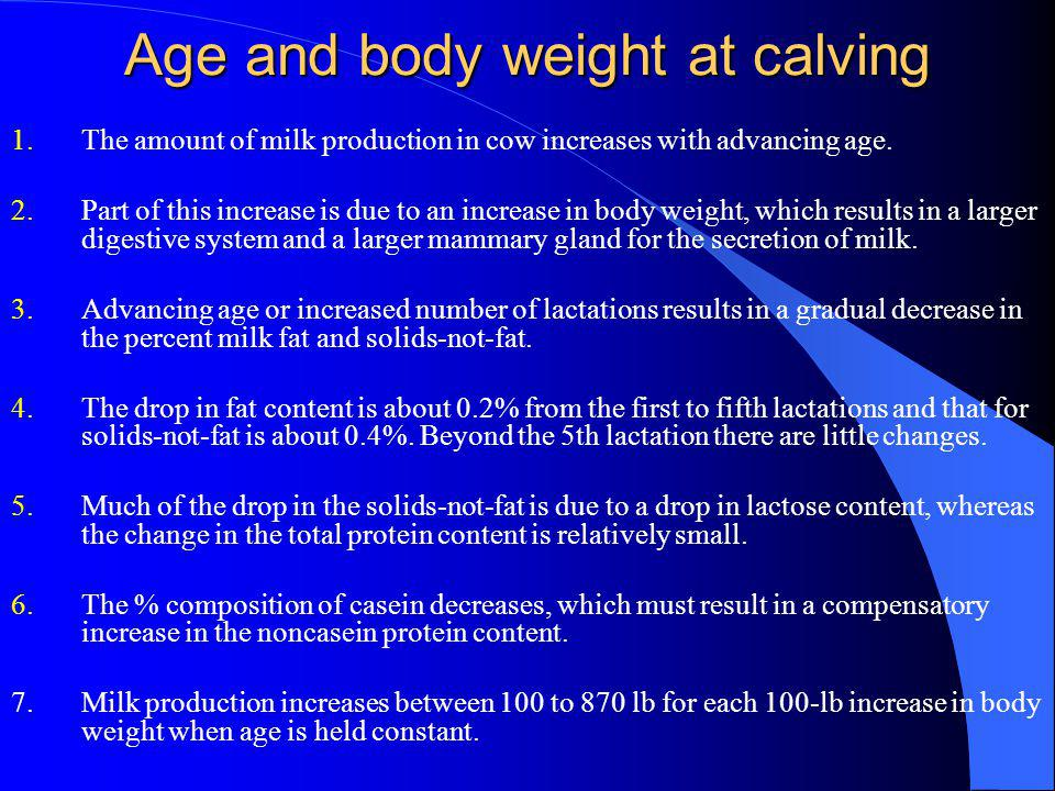 Age and body weight at calving