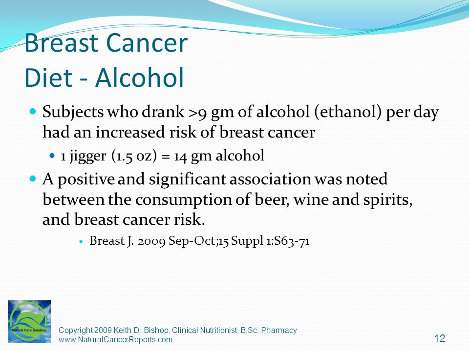 Breast Cancer Diet - Alcohol