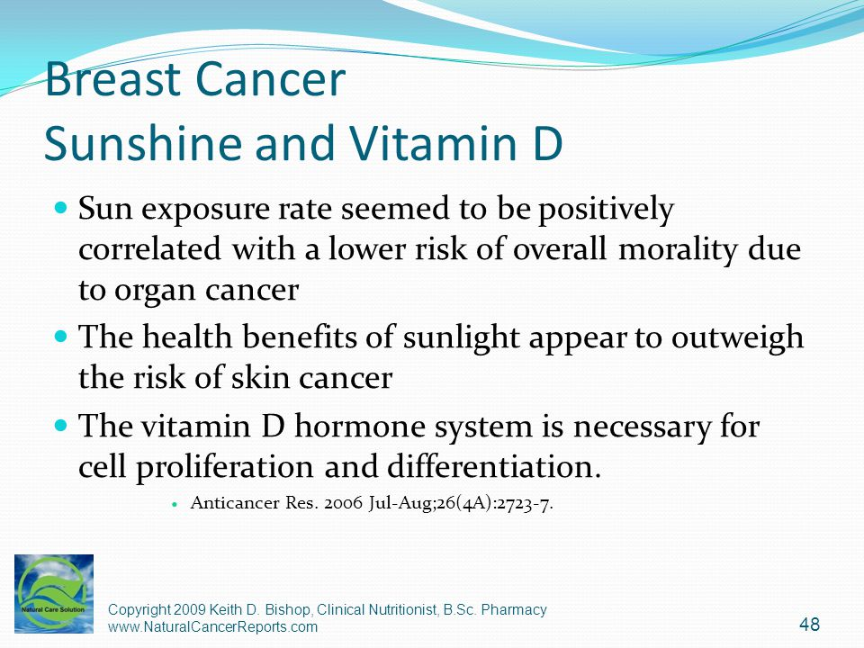 Breast Cancer Sunshine and Vitamin D