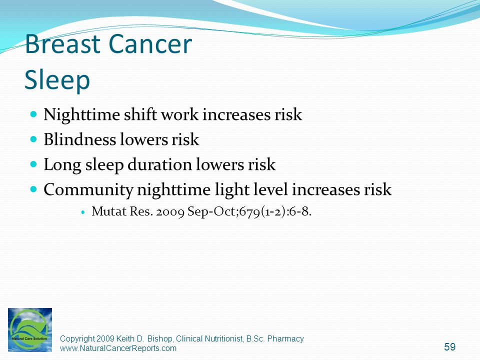 Breast Cancer Sleep Nighttime shift work increases risk