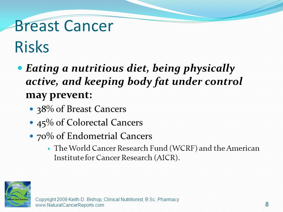Breast Cancer Risks Eating a nutritious diet, being physically active, and keeping body fat under control may prevent:
