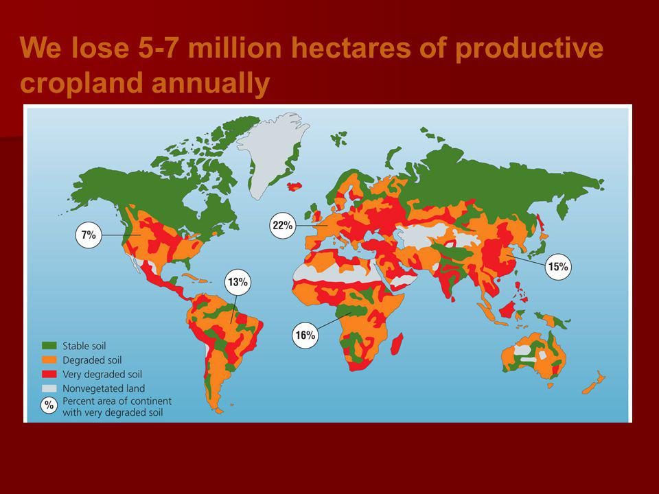 We lose 5-7 million hectares of productive cropland annually