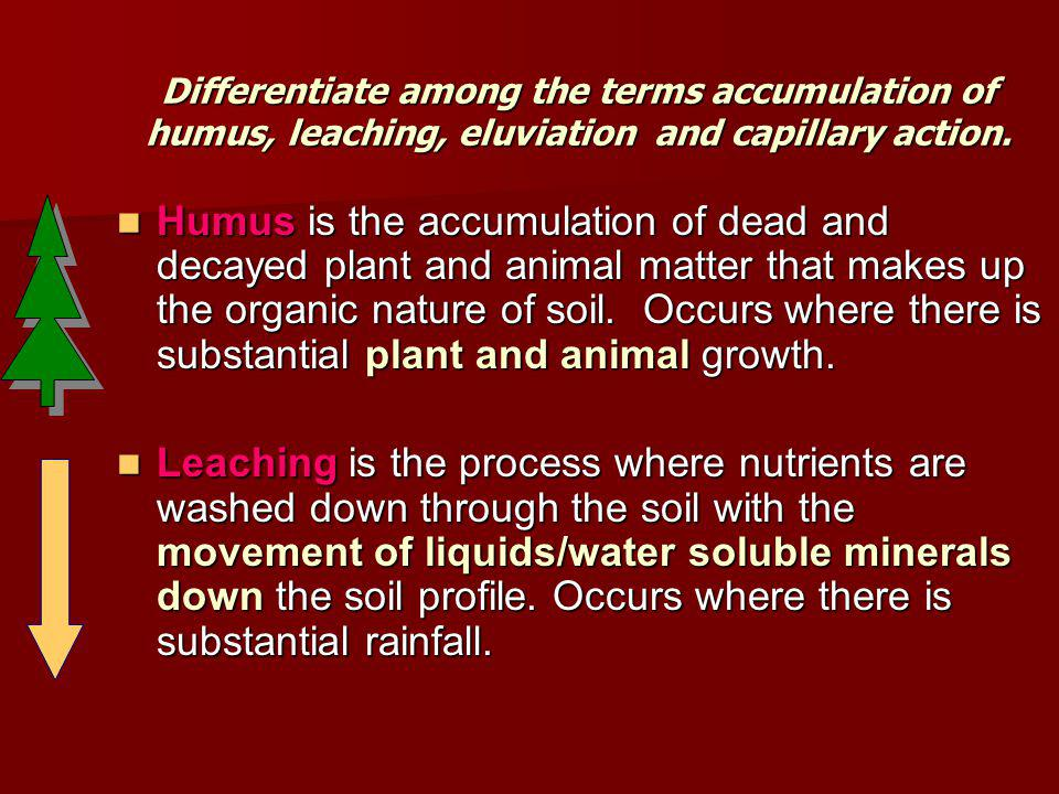 Differentiate among the terms accumulation of humus, leaching, eluviation and capillary action.