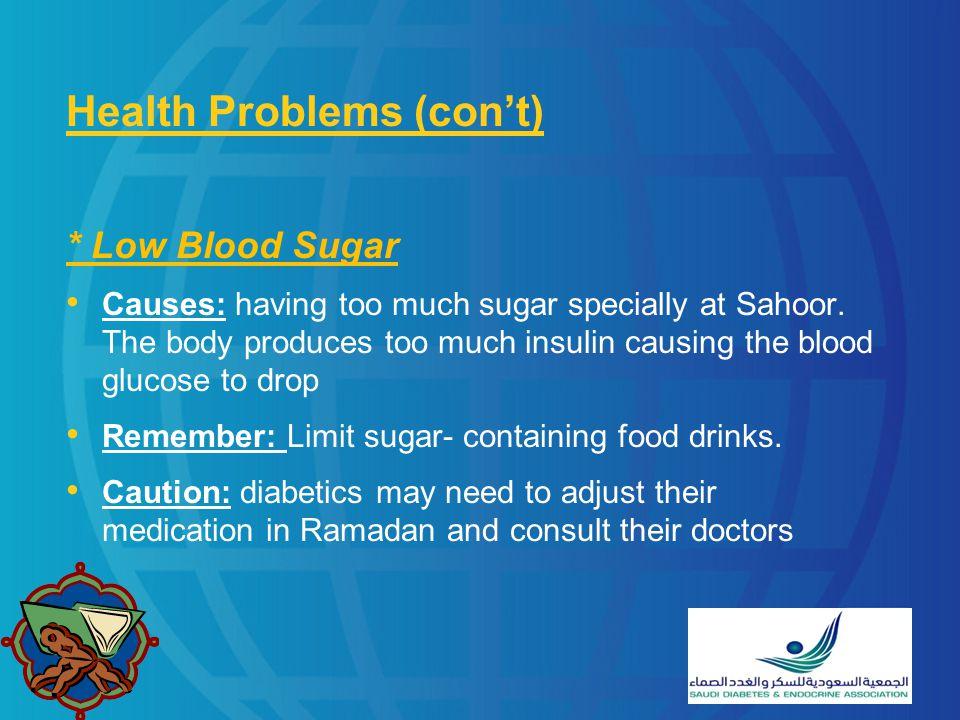 Health Problems (con't)