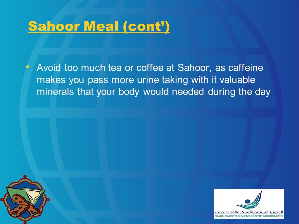 Sahoor Meal (cont')
