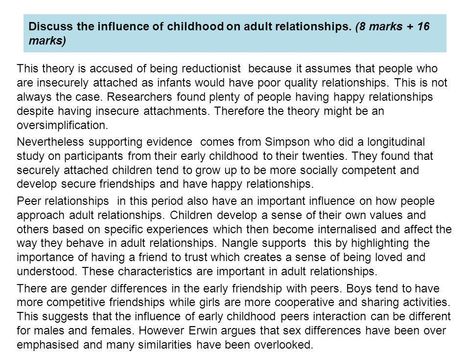 discuss the influence of childhood and Social influences & middle childhood during middle childhood, friendships and peer relations become very important, as children begin to spend a.