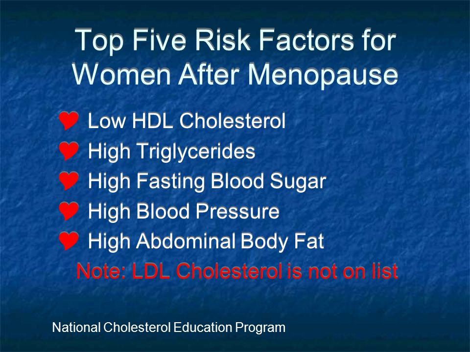 Top Five Risk Factors for Women After Menopause