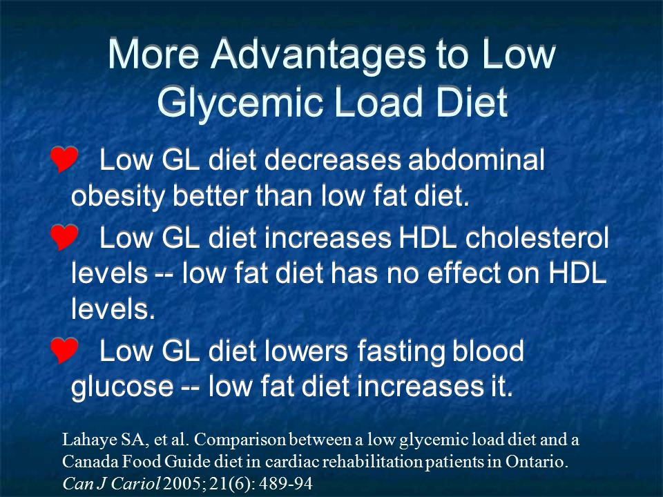 More Advantages to Low Glycemic Load Diet