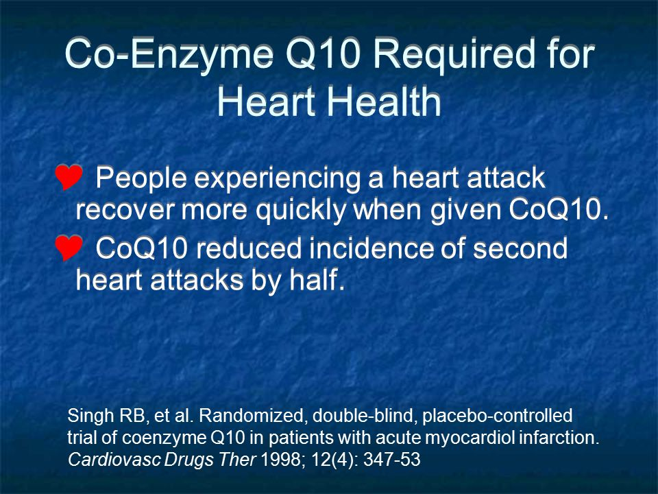Co-Enzyme Q10 Required for Heart Health