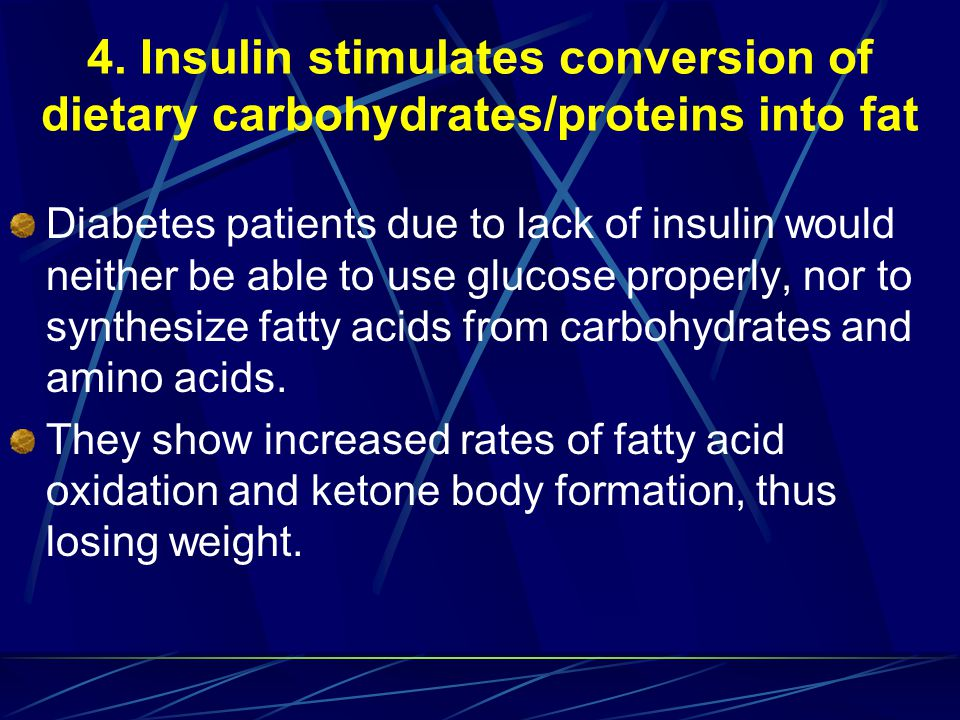 4. Insulin stimulates conversion of dietary carbohydrates/proteins into fat