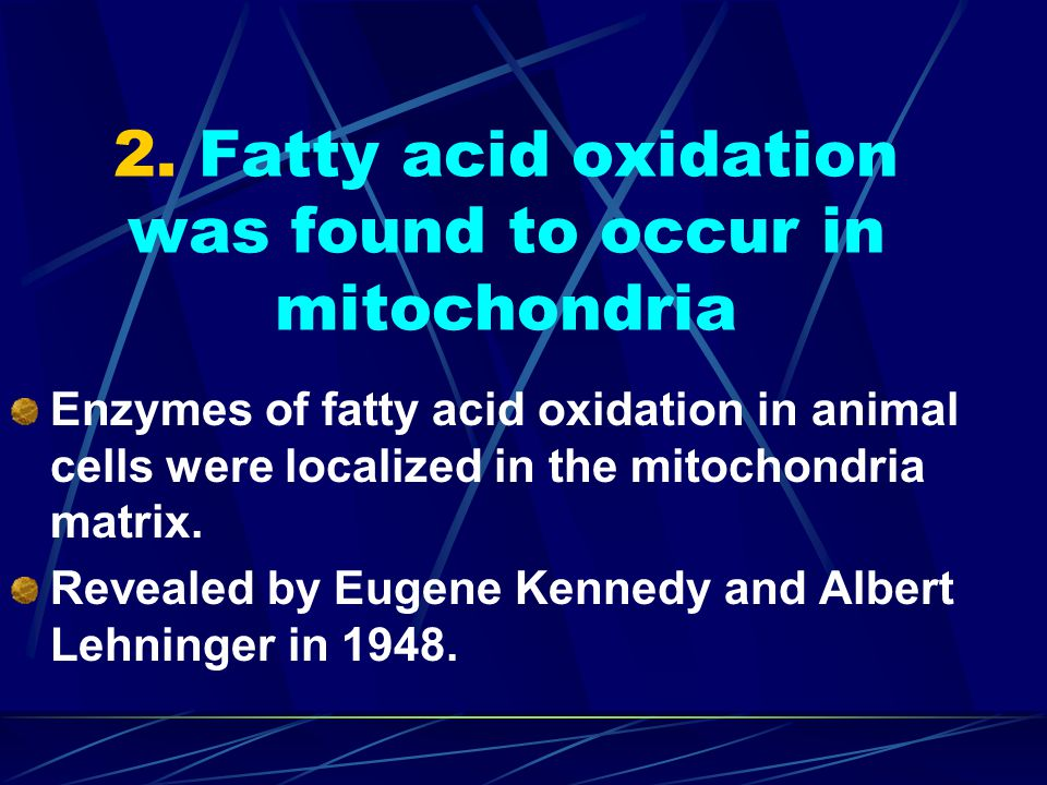 2. Fatty acid oxidation was found to occur in mitochondria
