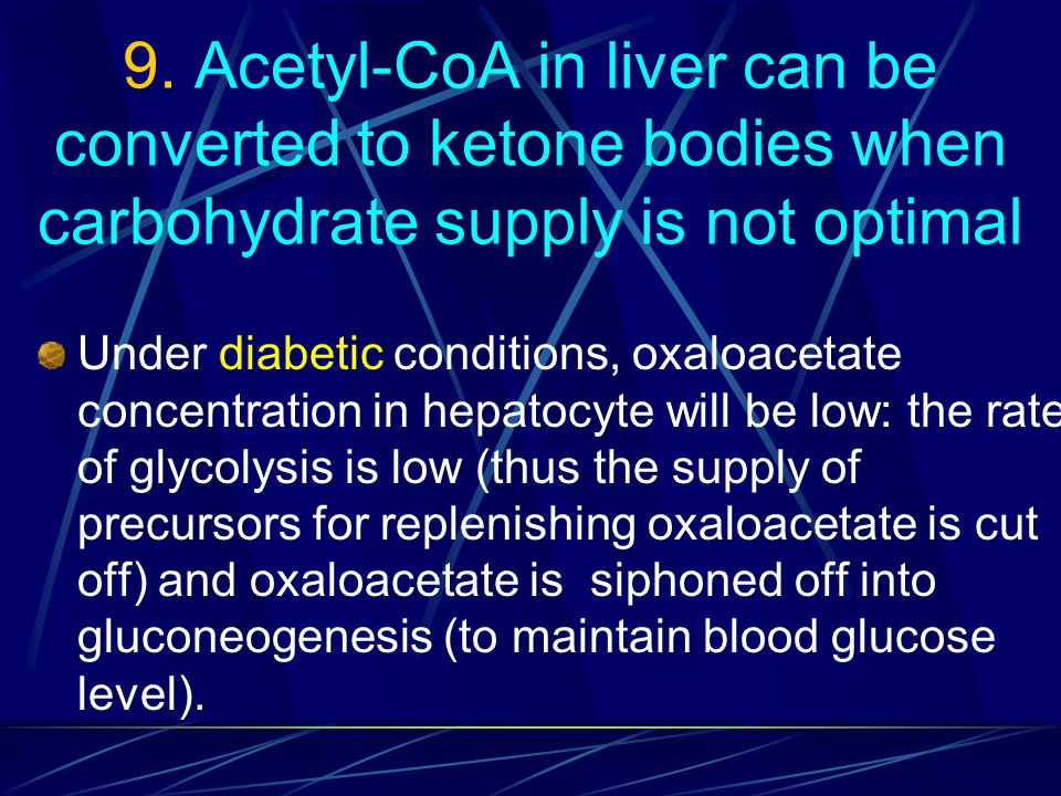 9. Acetyl-CoA in liver can be converted to ketone bodies when carbohydrate supply is not optimal