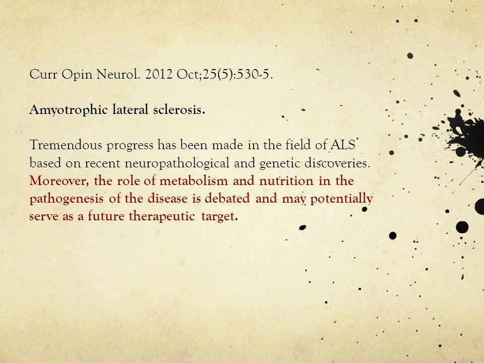 Curr Opin Neurol. 2012 Oct;25(5):530-5.