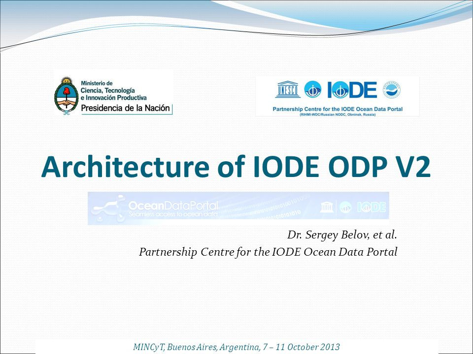 Architecture of IODE ODP V2