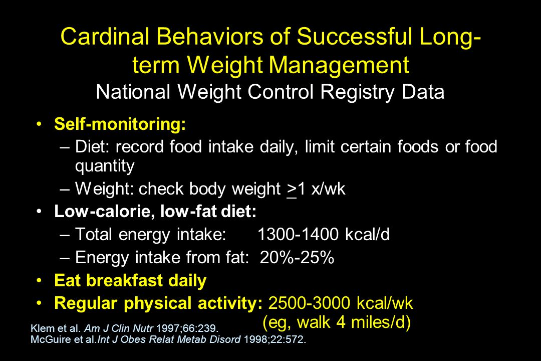 Cardinal Behaviors of Successful Long-term Weight Management National Weight Control Registry Data