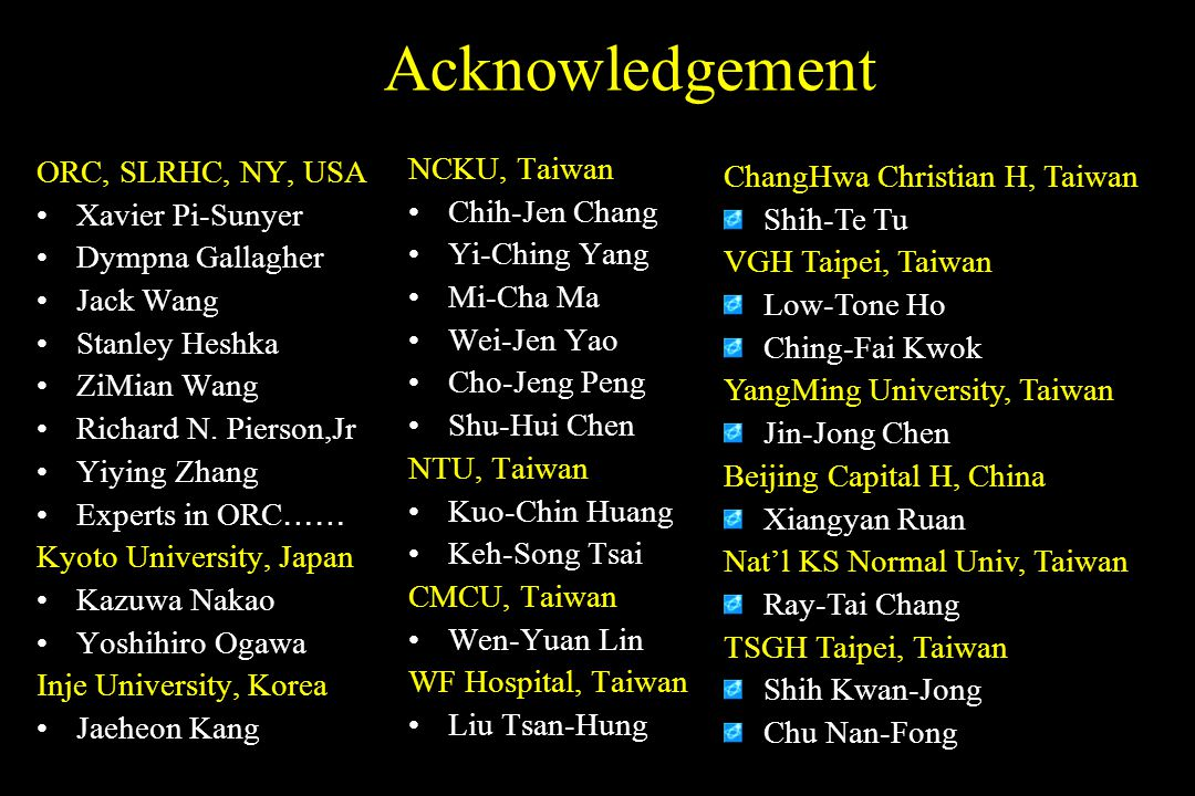 Acknowledgement NCKU, Taiwan ORC, SLRHC, NY, USA