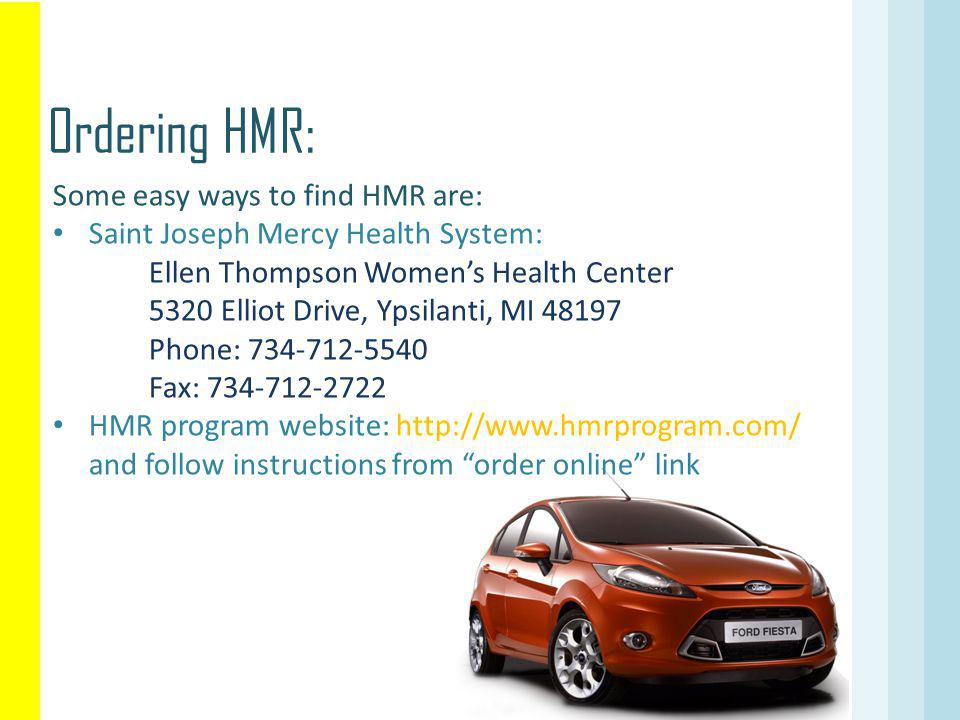 Ordering HMR: Some easy ways to find HMR are: