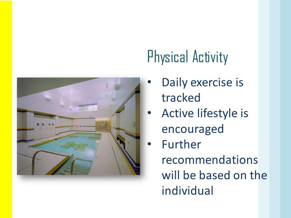 Physical Activity Daily exercise is tracked